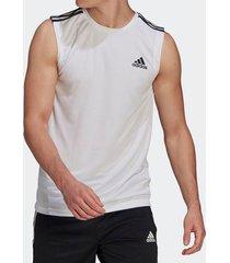 camiseta regata adidas 3 listras branca masculina