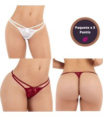 panties tanga brasilera paquete 5 encaje ajustable - bésame