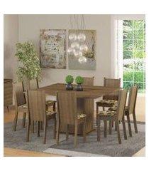conjunto sala de jantar madesa clarice mesa tampo de madeira com 8 cadeiras rustic/bege marrom