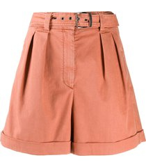 brunello cucinelli high-rise belted shorts - orange