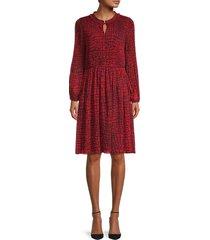calvin klein women's printed ruffled dress - rouge combo - size m