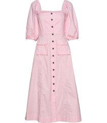 ripstop cotton chino knälång klänning rosa ganni
