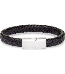 nordstrom men's woven leather bracelet in black- silver at nordstrom