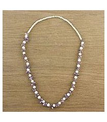 amethyst and cultured pearl beaded necklace, 'soft lavender' (thailand)