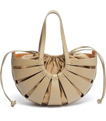 basket leather tote with nylon pouch