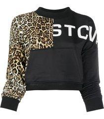 just cavalli leopard and patchwork sweatshirt - black