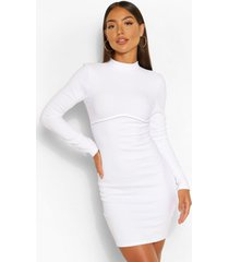bandage rib high neck long sleeve mini dress, white