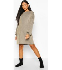 acid wash rib oversized lounge dress, tan