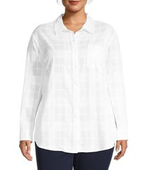 sanctuary women's plus keepers boyfriend check cotton shirt - white - size 2x (18-20)