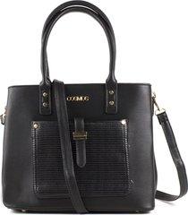 bolso femenino negro con bolsillo delantero marca cosmos