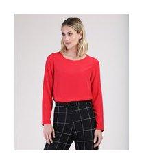 blusa feminina ampla manga longa decote redondo vermelha