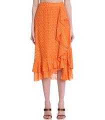 lautre chose skirt in orange viscose
