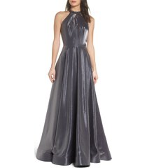 women's la femme beaded halter neck a-line gown, size 10 - metallic