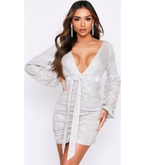 metallic ruched tie front plunge mini dress, champagne