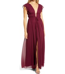 women's lulus i'm all yours ruffle maxi dress, size medium - burgundy