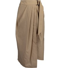 belted crinkle pleated wrap skirt