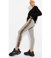 luipaardprint leggings met zijstreep, grey marl