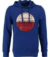 jack & jones zachte slim fit sweater hoodie kobalt blauw valt kleiner