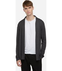 suéter tipo cárdigan de manga larga con cuello chal liso gris oscuro para hombres