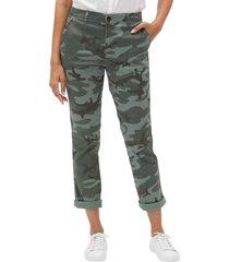 pantalon girlfriend khaki camuflado verde gap