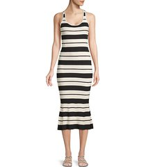 striped silk-blend bodycon midi dress