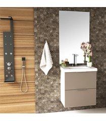 conjunto banheiro 60cm mdf branco brilho gianduia lilies