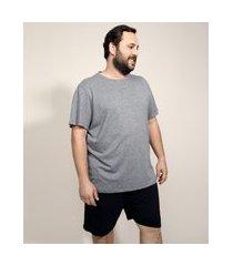 pijama masculino plus size manga curta cinza mescla