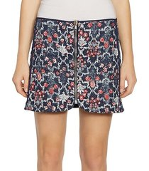 marily reversible floral quilted zip linen mini skirt