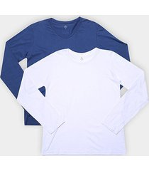 kit camiseta burn básica decote v manga longa c/ 2 peças masculina - masculino