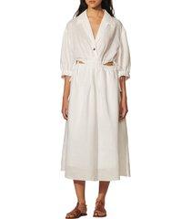 women's sandro soledad drawstring waist cutout ramie midi dress, size 6 us - white