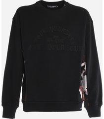 dolce & gabbana cotton sweatshirt with camouflage print insert