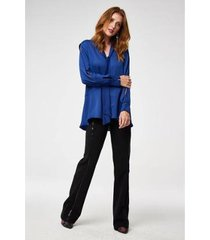 camisa alongada e laço wool line tricot feminina