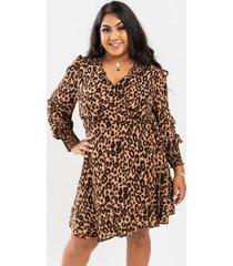 alessa leopard wrap mini dress - brown