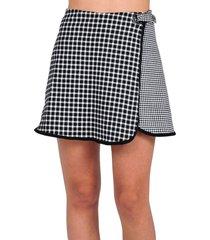 falda estampada a cuadros de mujer vestimenta vf174-1115-501 negro