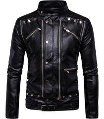handmade mens black leather jacket, men black biker leather jacket