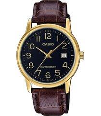 reloj casio caballero elegante mtp-v004l-7a color café