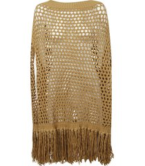 knitted perforated cape