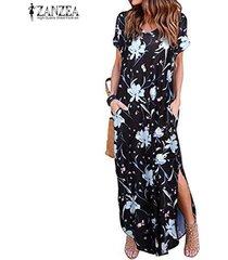 zanzea vestido largo de playa floral de verano para mujer vestidos largos de fiesta de verano vestidos largos -blanco