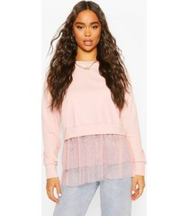 dobby mesh frill 2-in-1 sweat top, blush