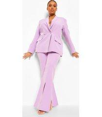 plus getailleerde wijde broek met split, lilac