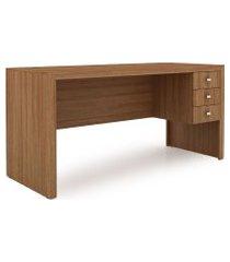 mesa para escritório com 3 gav. me 4113 tecno mobili marrom
