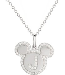 "disney mickey mouse cubic zirconia initial pendant 18"" necklace in sterling silver"