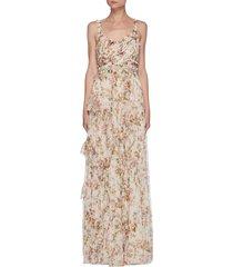 'garland' flower print sleeveless gown