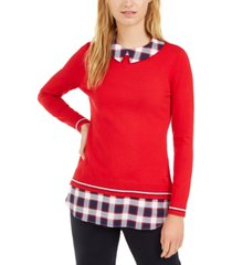 tommy hilfiger cotton layered-look sweater