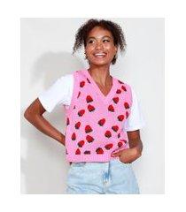colete de tricô feminino mindset estampado de morangos decote v rosa