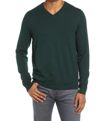 men's nordstrom men's shop cotton & cashmere v-neck sweater, size xx-large - green