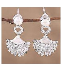 rhodium plated cultured pearl dangle earrings, 'glittering glamour' (india)