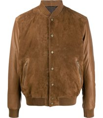 ajmone suede-panel bomber jacket - brown