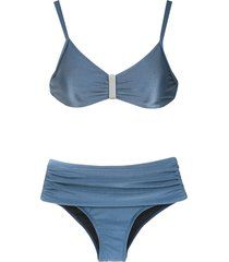 lygia & nanny anne high rise bikini set - blue