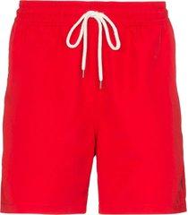 polo ralph lauren traveller drawstring swim shorts - red